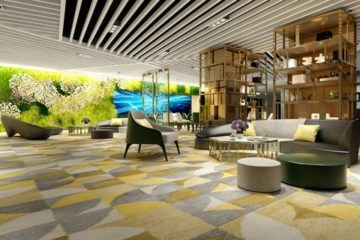 Modern office space with carpet tiles.